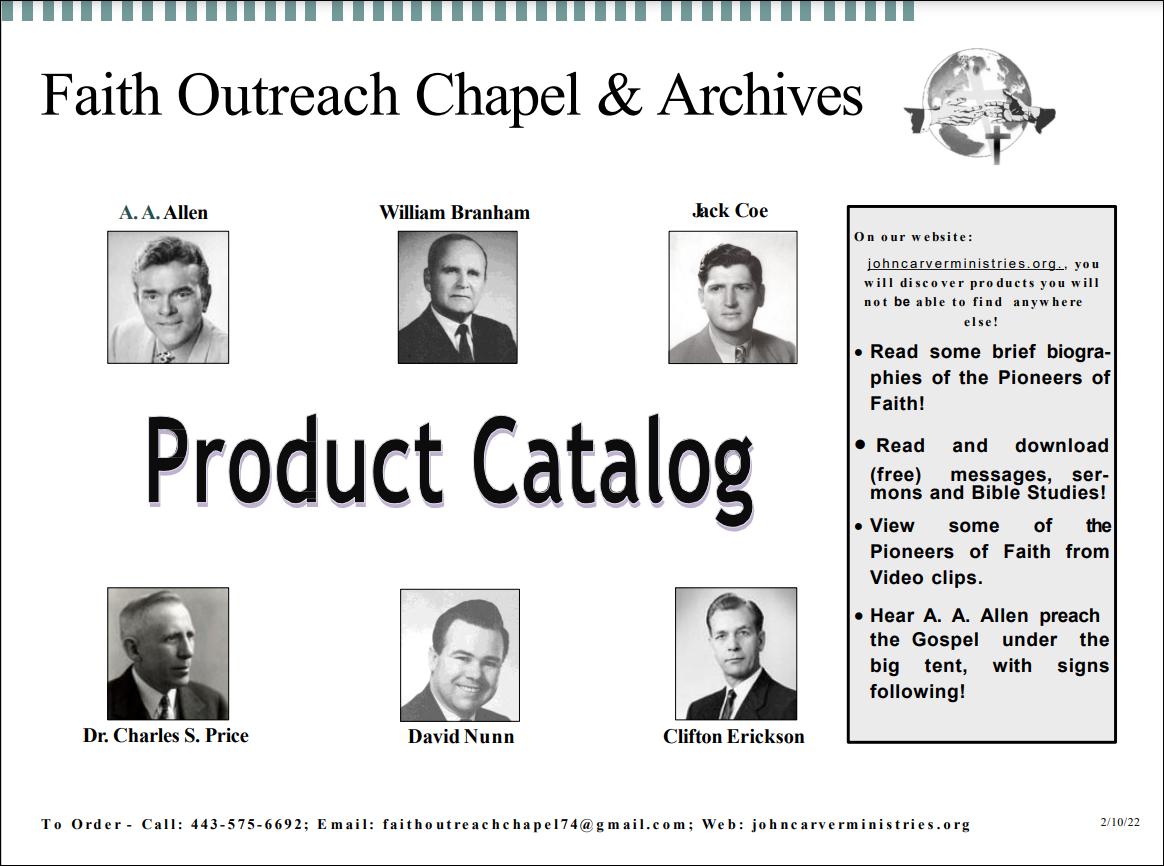 John Carver Ministries Product Catalog